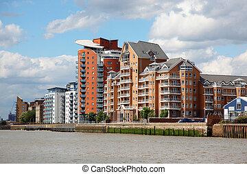 仓库, 转换, 入, 公寓, 在上, the, thames, 在中, 伦敦, 英国