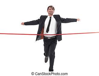 仕上げ, 背景, 交差, ビジネスマン, 白いライン, 幸せ