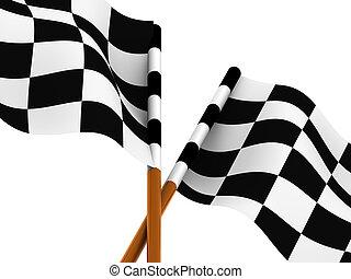 仕上げ, checkered の 旗