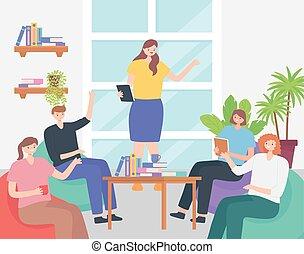 仕事場, チーム, モデル, オフィスの 会合, ビジネス, coworking