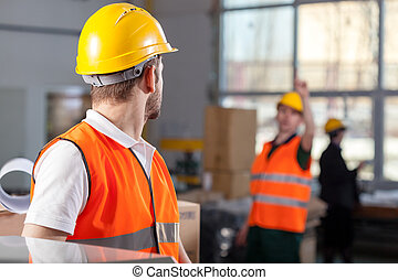 仕事, の間, 労働者, 工場