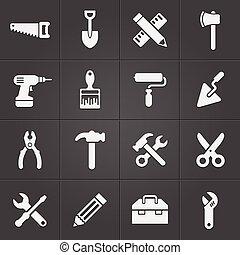 仕事, アイコン, 道具, 道具, ベクトル, black.