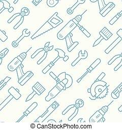 仕事, アイコン, 飛行機, パターン, せん孔機, -, seamless, レンチ, ドリル, 薄くなりなさい, プライヤー, 線, 道具, 鋸