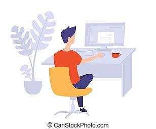 仕事, オフィス。, イラスト, 若者, コンピュータ, ベクトル