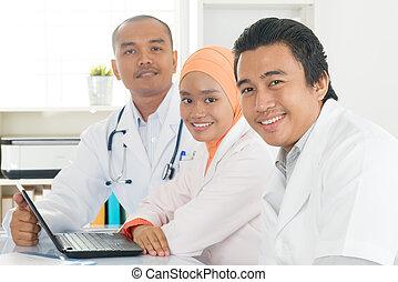 仕事, オフィス。, 医学, 一緒に, チーム, 病院