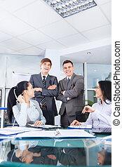 仕事, グループ, オフィス, ビジネス 人々, 机, ミーティング