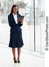 仕事, タブレット, 女性実業家, アメリカ人, コンピュータ, アフリカ