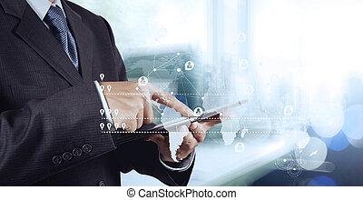仕事, ダブル, ビジネスマン, 現代, さらされること, コンピュータ, 新しい