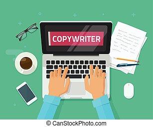 仕事, テキスト, ラップトップ, 考え, 人, テーブル, 仕事, 著者, 執筆, コンピュータ,...