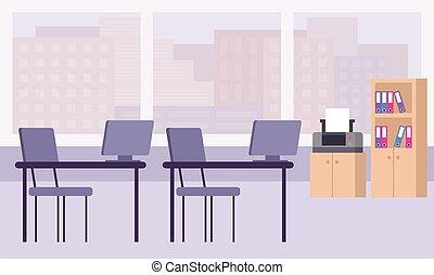 仕事, テーブル, オフィス, interior., プリンター, ワードローブ