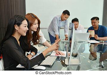 仕事, ビジネス 人々, チームワーク, アジア人, 会議室, 持つこと, ミーティング