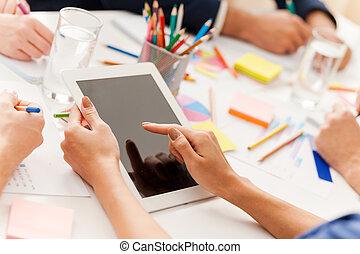 仕事, ビジネス, work., モデル, 上, 人々, 一緒に, 創造的, 間, チーム, テーブル, 光景