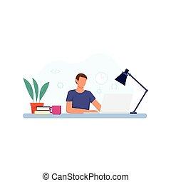 仕事, ベクトル, イラスト, laptop., 人