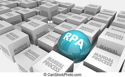 仕事, マニュアル, rpa, 減らしなさい, ロボティック, オートメーション, イラスト, プロセス, 3d
