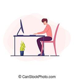 仕事, モデル, スーツ, 机, ビジネスマン, computer.