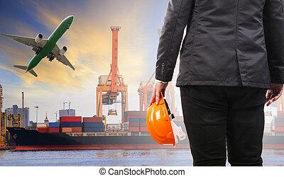 仕事, 人, 上に, 義務, 中に, コンテナ船, 港, corgo, ロジスティックである, 使用, f
