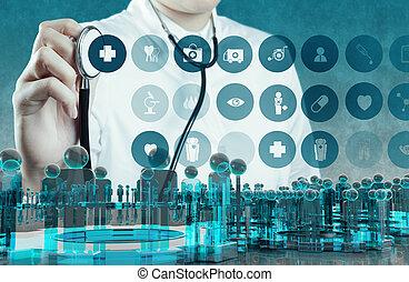 仕事, 医者, 現代, 手, 薬, コンピュータ, インターフェイス