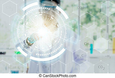 仕事, 医者, concept., 現代, 手, 薬, コンピュータ, インターフェイス