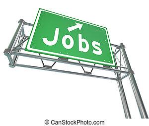 仕事, 単語, 緑, 高速道路の印, 指すこと, 新しい, キャリア, 雇用