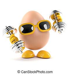 仕事, 卵, 3d, から