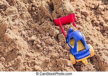 仕事, 坑夫, 採石場, 建設, 小さい, 概念, おもちゃ, 砂