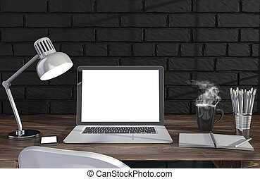 仕事, 壁, イラスト, 原料, laptopand, ワークスペース, テーブル, れんが, 3d