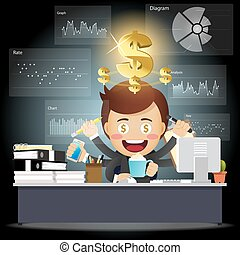 仕事, 多数, 処理, 腕, コンピュータ, ビジネスマン, データ