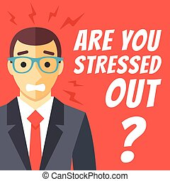 仕事, 平ら, ストレス, 概念, デザイン