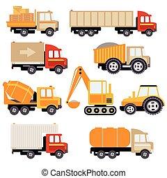 仕事, 平ら, ベクトル, セット, トラック