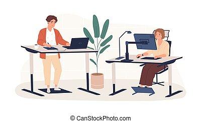 仕事, 平ら, 人々, 仕事場, 現代, 革新的, 内部, 地位, 人, ベクトル, 家具, モデル, 隔離された, white., 人間工学的, 従業員, ワークスペース, 現代, illustration., の後ろ, 女