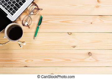 仕事, 木製である, メモ用紙, space., ラップトップ, 机