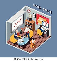 仕事, 概念, スペース