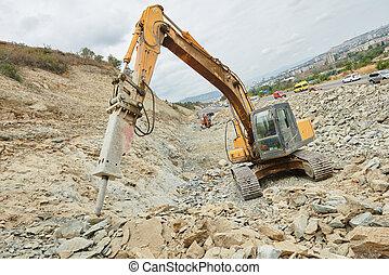 仕事, 破壊, ブレーカ, ハンマー, 掘削機, 水力である