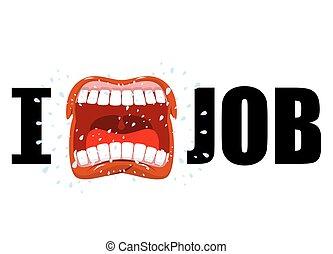 仕事, 紋章, mouth., 憎悪, シンボル, 飛行, yells, 叫びなさい, 彼の, saliva., scream., job., 憎悪, 強い, 開いた, antipathy.