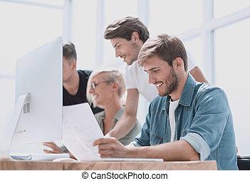 仕事, 終わり, グループ, 人々, 。, computers.