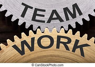 仕事, 組み合わせられた, 概念, チーム, はめば歯車