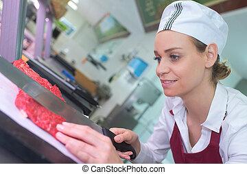 仕事, 肉屋, 確信した, 女性, 肖像画, 台所