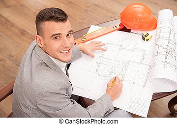 仕事, 若い, デザイン, 計画, 建築家, エンジニア, ハンサム