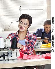 仕事, 裁縫, 工場, 仕立屋, 女性, 幸せ