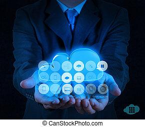 仕事, 計算, 手, 図, コンピュータ, ビジネスマン, インターフェイス, 新しい, 雲
