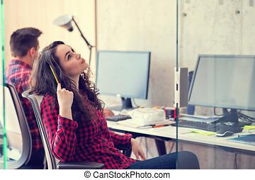 仕事, 論じる, laptop., 2, 同僚
