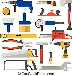 仕事, 道具, アイコン, セット