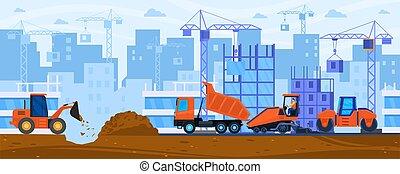 仕事, 道, 平ら, 建設, ベクトル, 建設すること, 舗装, 漫画, 機械, コンパクター, トラクター, イラスト, スチームローラー