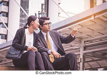 仕事, 都市, モビール, 見る, 電話, チーム, ビジネス