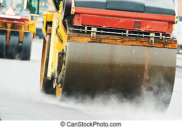 仕事, asphalting, ローラー, コンパクター