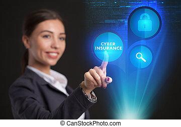 仕事, display., 女性実業家, ガラス, 若い, 事実上, cyber, 保険, 選り抜き, アイコン