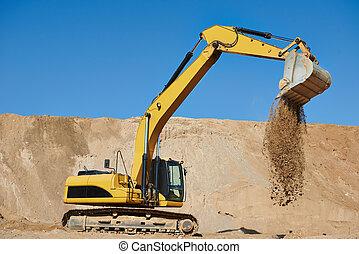 仕事, earthmoving, 掘削機, 積込み機