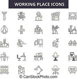 仕事, illustration:, 仕事, 場所, セット, 場所, アウトライン, 概念, vector., オフィス, 仕事場, アイコン, 線, コンピュータ, ビジネス, サイン, deweb
