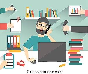 仕事, man., 平ら, ビジネス, 仕事場, 懸命に, illustration.