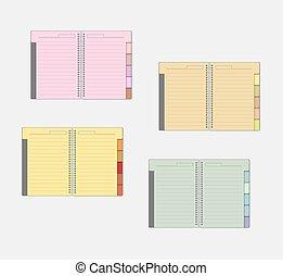 仕切り, mockup, 色, バネとじノート, セット, タブ, 開いた, ページ